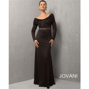 Long sleeve off the shoulder jovani prom gown